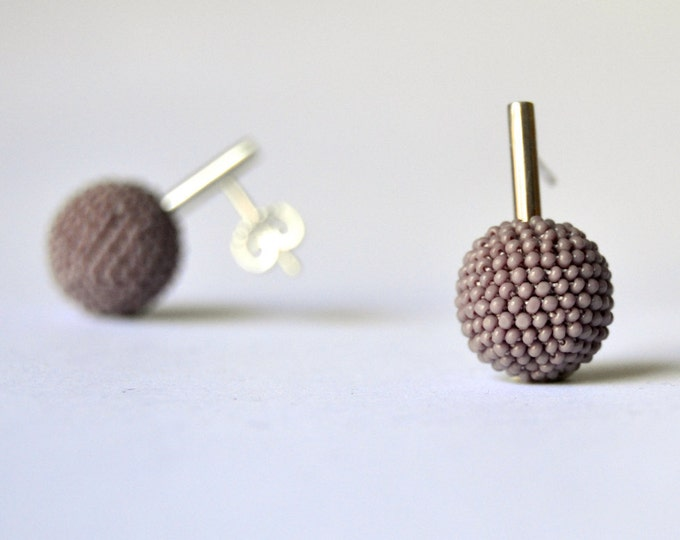 lilac bead crochet silver ear studs by donauluft