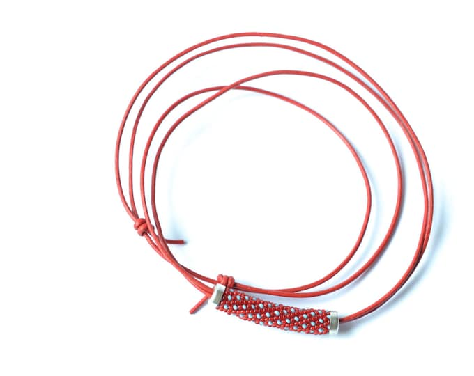 Leather necklace with beaded bead red turquoise