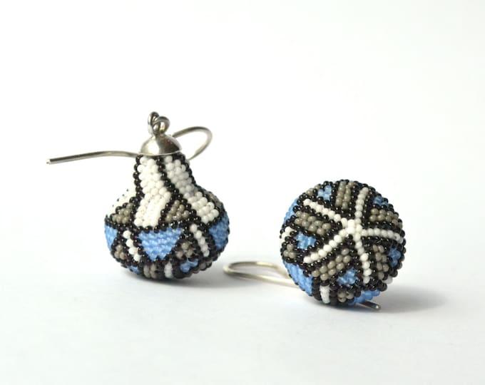 Earrings beaded Art Nouveau style glass beads and silver925 dangle earrings