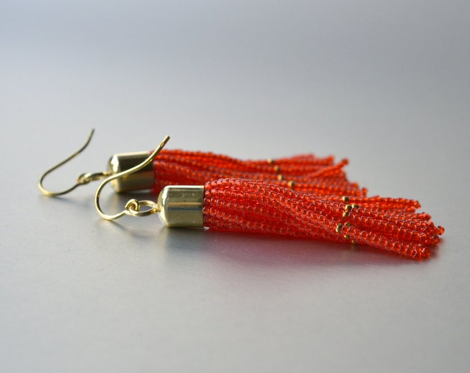 Tassel earrings beaded gold filled orange glass beads