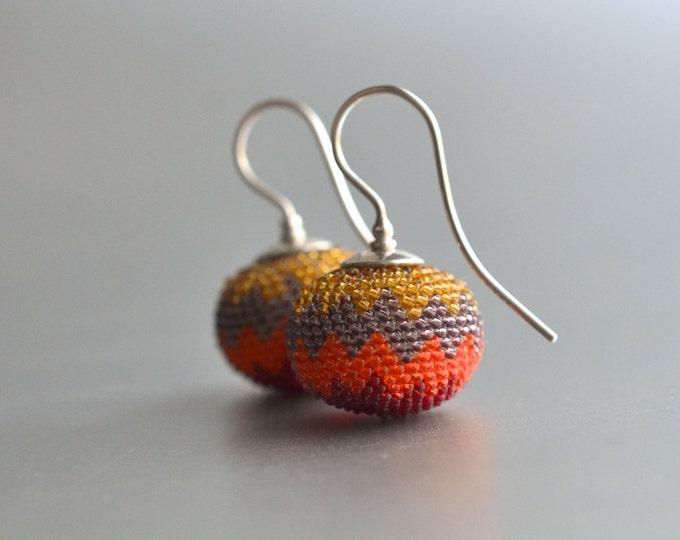chevron earrings red