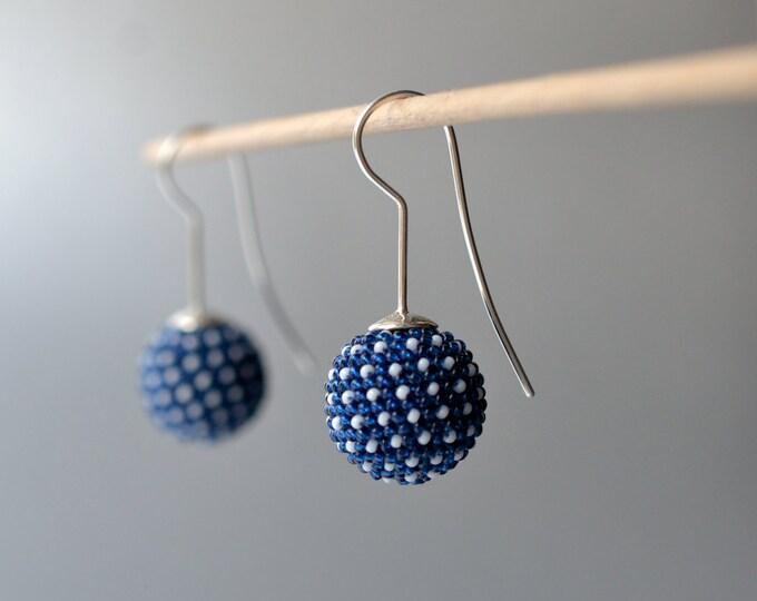 globe earrings indigo