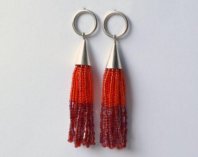 beaded Tassel earrings silver post earrings