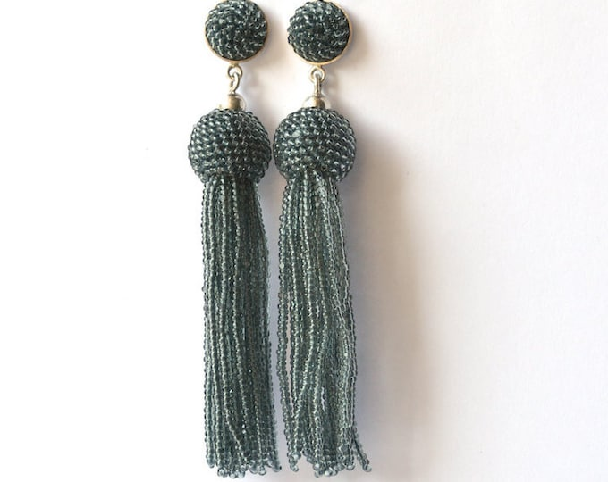 tassel earrings gray fringe post earrings glass beads and silver