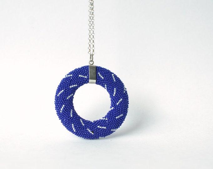 Mandala  Pendant indigo white patterned glassbeads shibori style minimalistic