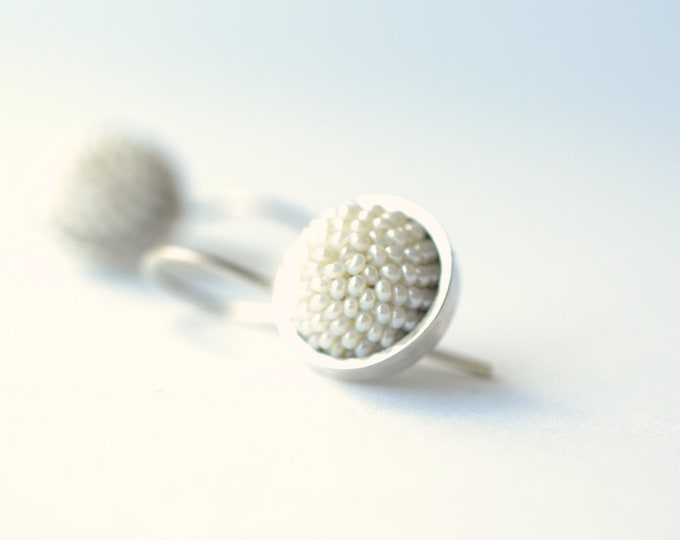 bridal earrings pearly beads silver cabochon