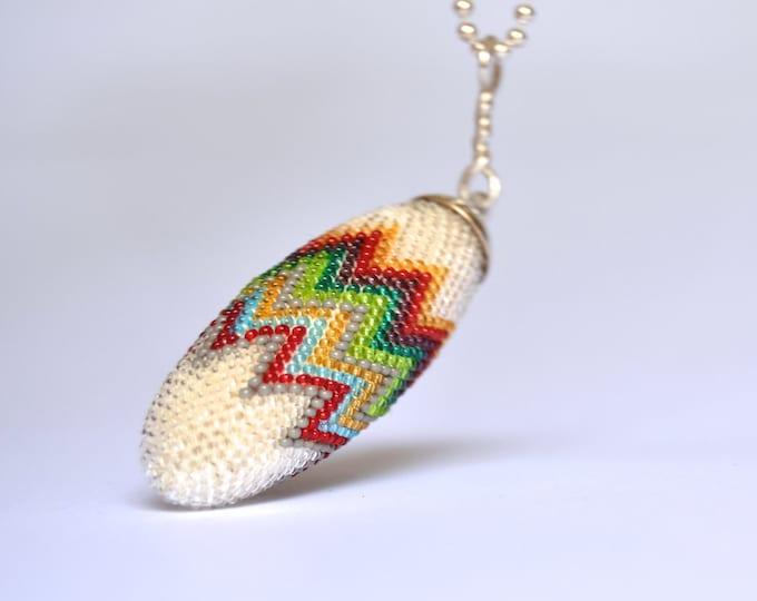 pendant multicolor chevron white silver necklace