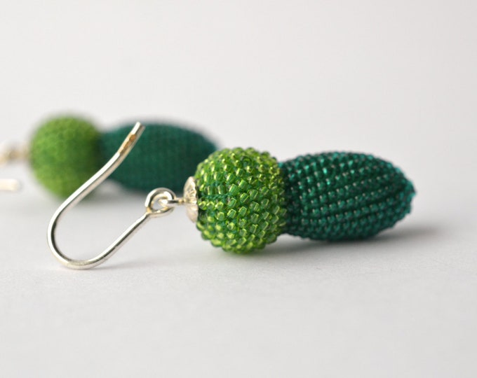 earrings green glass beads and silver two tones