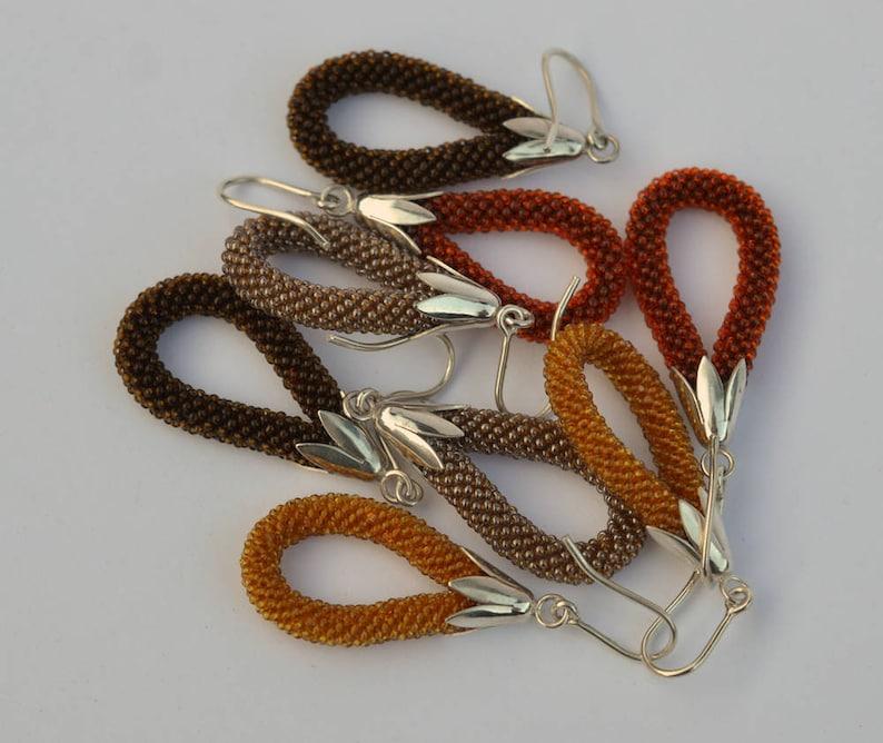 rust brown glass beads Dangle earrings  silver