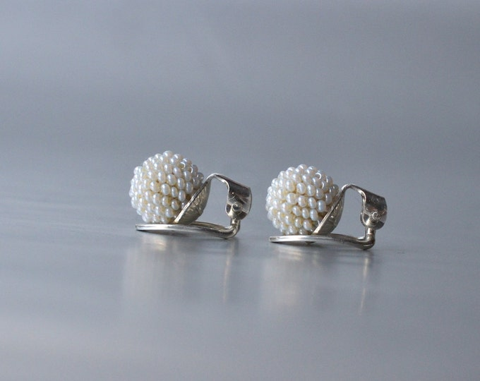 Clip on earrings white sterling silver clips and glass  beads