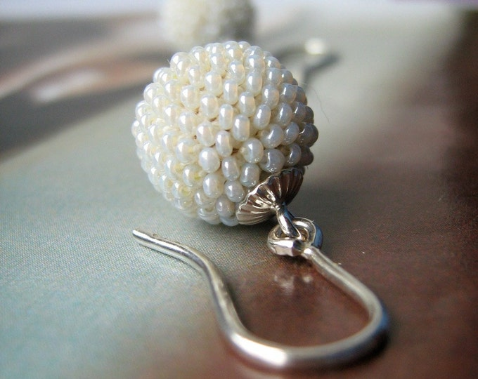 pearly globes bridal earrings silver and glass beads
