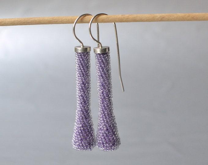 beaded  earrings lavender blue silver hooks dangle earrings long