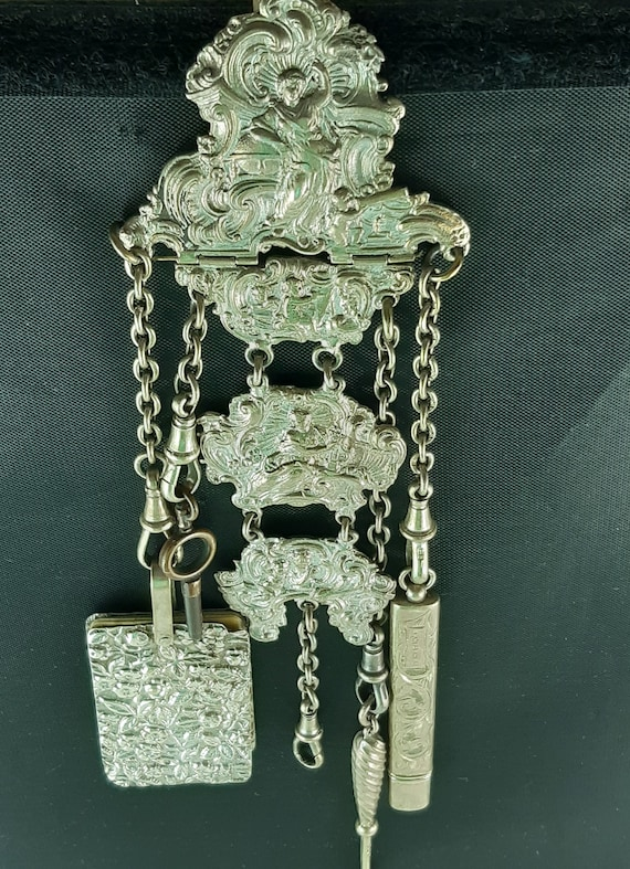 Victorian Antique Chatelaine Five Chains,Silver Ch