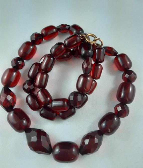 "Art Deco Red Cherry Amber Bakelite Necklace 34"""