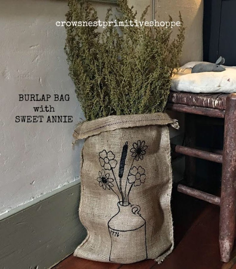 Large Burlap bag with jug and prairie flower print air dried Sweet Annie Over 26 inches Free Shipping! Filled with organically grown