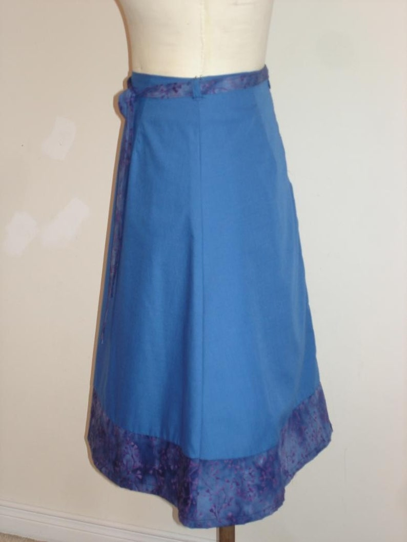 with hand dyed accent fabric SALE Blue skirt