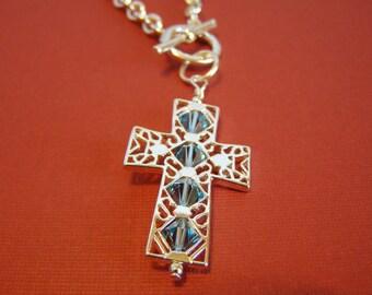 SALE Crystal Cross Heavenly Blue Swarovski Necklace