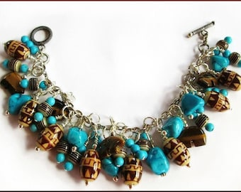 Chocolate Browns and Turquoise Zuni Bear Sterling Charm Bracelet