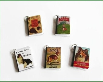Dogs Miniature Book Charms Set of all 5 Herding Breeds Collies Shelties