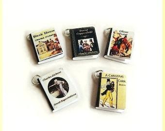 Miniature Book Charms - Classics Theme - Set of Five