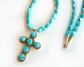 Sleeping Beauty Turquoise Nugget Necklace with Sterling Silver Cross