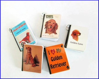 Dogs Miniature Book Charms Set of all 5 Golden Retrievers Sporting Breeds