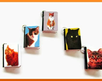 Cats Miniature Book Charms Set of all 5 Domestic Cats Kittens