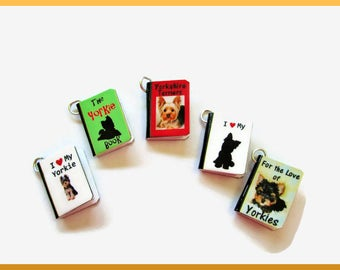 Dogs Miniature Book Charms Set of all 5 Yorkies Yorkshire Terriers