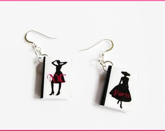 Fashion Earrings Paris NYC Miniature Book Charms on Sterling Silver Earwires
