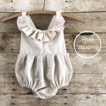 Boho baby romper clothes one year old girl birthday outfit oatmeal cream speckled bohemian natural fibers 100 percent unbleached cotton new