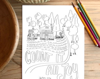 Bible Verse coloring page- James 1:2a Count it all Joy - Memory verse scripture color in God's word fall craft project memorize scripture