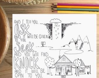 Bible Verse coloring page- Luke 11:9