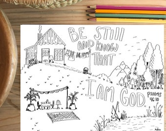 Bible Verse coloring page- Psalms 46:10
