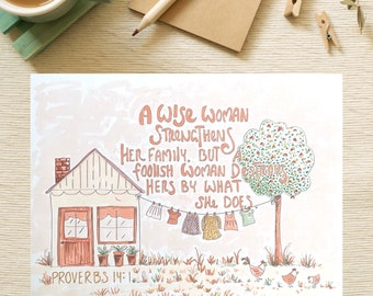 Bible Verse coloring page- Proverbs 14:1