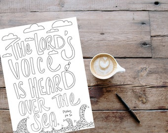 Bible Verse coloring page-Psalms 29:3a