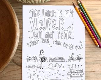 Bible Verse coloring page- Hebrews 13:6b