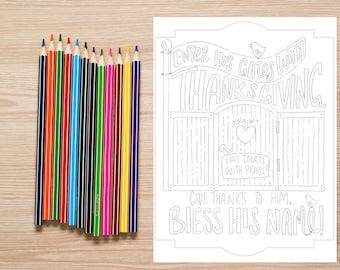 Bible Verse coloring page-Psalms 100:4 Thanksgiving Bible verse coloring print - kids wall art - memory work verse holy scripture digital