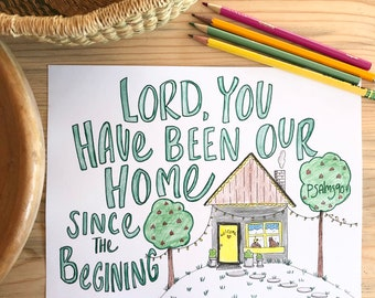 Bible Verse coloring page- Psalms 90:1 - digital instant download- Christian scripture verse - memory verse art