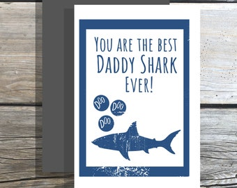 Fathers day card printable Daddy Shark PDF {Instant Download}