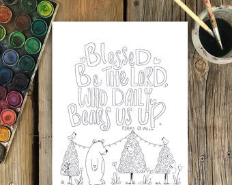 Bible Verse coloring page- Psalms 68:19a