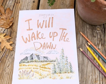 Bible Verse coloring page- Psalms 108: 2b Scripture verse memorize memory verse coloring sheets digital I will wake up the dawn