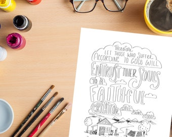 Bible Verse coloring page- I Peter 4:19