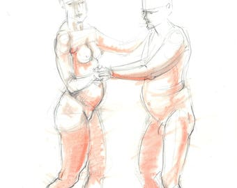 Nude pencil drawing with terracotta pastel. Life drawing. Male & Female Nude, dancing couple.  Art by Nancy Farmer. 2017-17