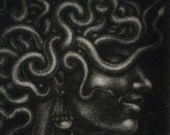 "Mezzotint - ""Head of Medusa, Still Attached"" (proof print) - miniature original print, medusa art, goddes, mythology. By Nancy Farmer"