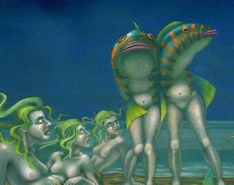 Original weird reverse-mermaid painting: 'Maidmers on the Beach'- strange art by Nancy Farmer (unframed)