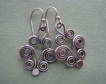 Earrings, Sterling Silver Handmade Earrings, Coiled Sterling Silver Earrings, Handmade Earrings, Free Shipping