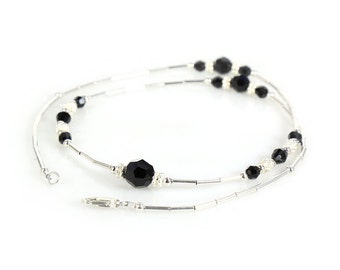 Black crystal and sterling silver necklace