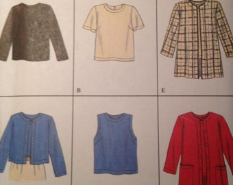 Simplicity 7381 Size 6, 8, 10 Misses' Top and Jacket UNCUT