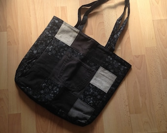 d3130094348 Large Black and Gray Tote Bag