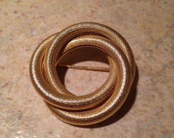 Goldtone Coil Ring Brooch
